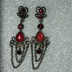 Vintage Gothic Red dangle earrings